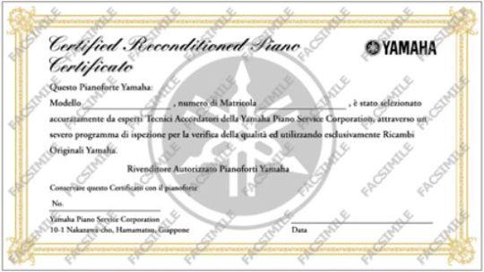 Certificato ufficiale di rigenerazione pianoforti Yamaha